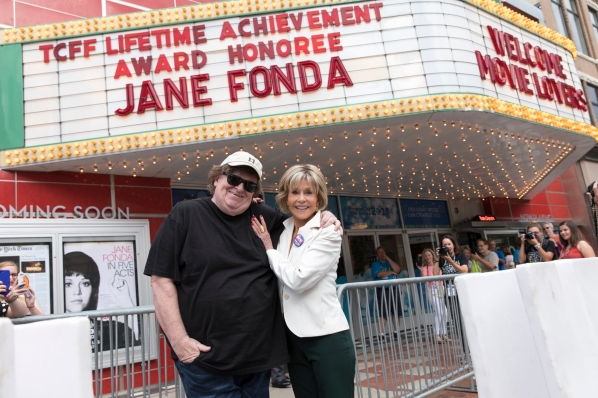 Jane Fonda and Michael Moore at the State Theatre, Traverse City Film Fest; Photo courtesy of: traversecityfilmfest.org