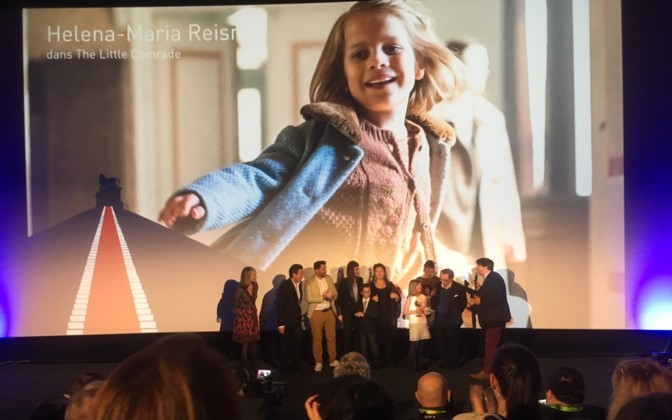 Helena Maria Reisner (from The Little Comrade) received Best Young Actor Award at Waterloo Historical Film Festival 2018, Waterloo, Belgium; Photo Courtesy of: Press Photo/news.err.ee