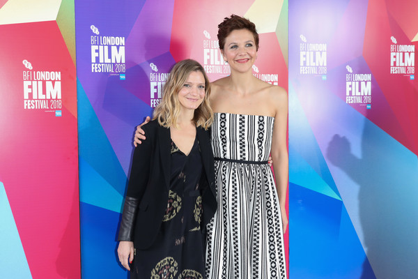 "Director/Screenwriter Sara Colangelo and Maggie Gyllenhaal presenting ""The Kindergarten Teacher"" at the BFI London FF, London UK on 18 October 2018; Photo Courtesy of: Tim P. Whitby/Getty Images Europe."